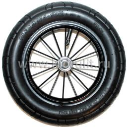 Колесо для детской коляски №003059 металл надув 10дюймов без вилки 54-152 10х2,0 (черный диск) (втулка на ось 8мм)
