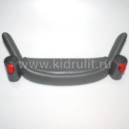 Крепление поворотного колеса с подножкой №006062 ось10мм, труба 42х22мм (цвет: СЕРЫЙ)